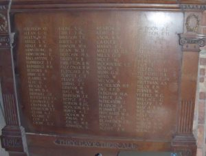 ww1 memorial plaque commemorating soldiers from YMCA Newcastle who fought in WW1